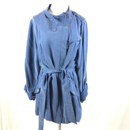 Tie Women's lynlås Blue Talje 12 Lightweight Cole Jacket Haan Asymetrical Trench w6IS5HXq