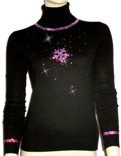 Oh` Luksus m Cashmere 100 40 Luxe Dor 38 S Snowflakes Sort Sweater Pink dxq474Y