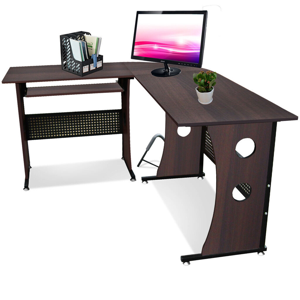 Computer Desk Pc Laptop Wood Table Home Office Study: Large L-Shaped Computer Desk Laptop PC Table Home Office