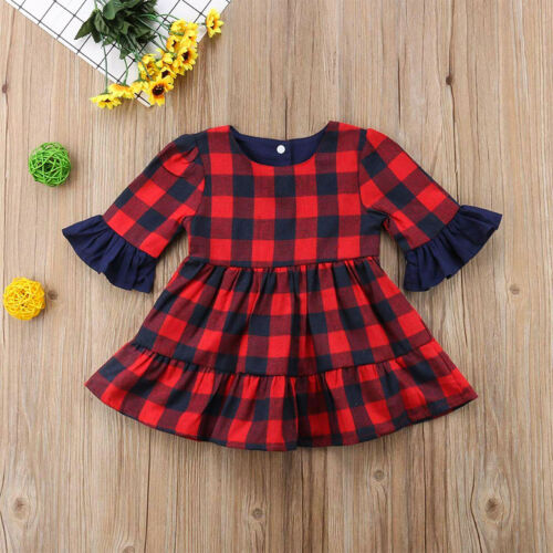 Newborn Toddler Baby Girls Plaid Romper Jumpsuit Dress Tops Outfits Clothes 1-6T