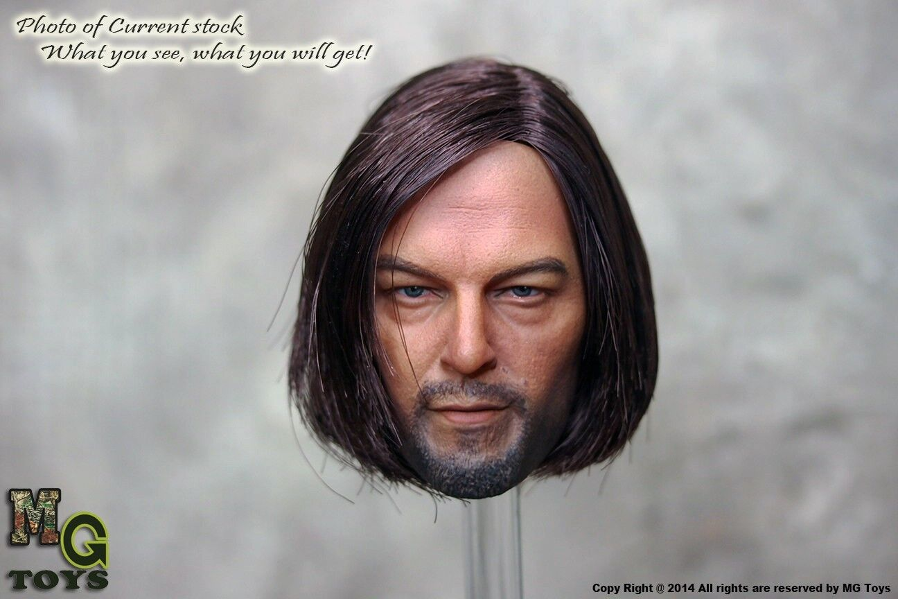 MG Toys Custom 1/6 Scale Implanted Hair Daryl Dixon Head Sculpt The Walking Dead