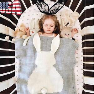 Toddler Infants Baby Knit Crochet Bunny Swaddle Wrap Blanket Kids Sleeping Bag