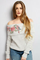 New Look Grey Floral Embroidered Bardot Neck Jumper Top Sizes 6 to 18