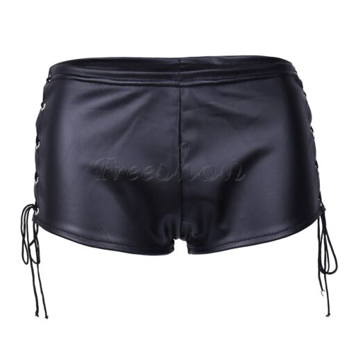 Women Punk Rock Faux Leather Slim Fit Lace Up Performance Clubwear Hot Shorts