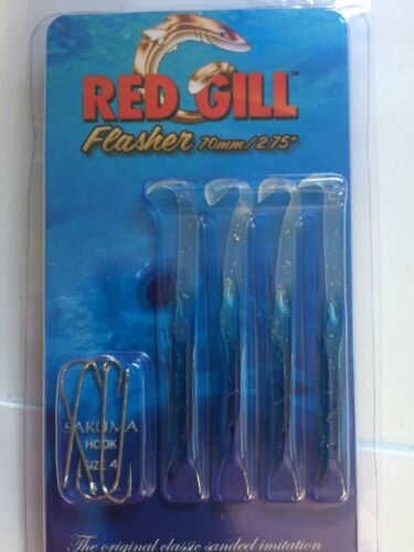 """- 4 PIECES 2.75/"""" SEA FISHING LURE RED GILL FLASHER RED // WHITE 70mm"""