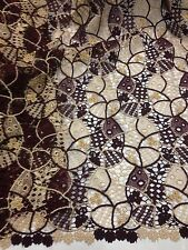 """BURGUNDY GOLD EMBROIDERY W/BEADS FRENCH LACE FABRIC 45"""" WiIDE 1 YD"""