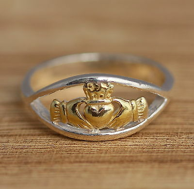 Solid 925 Sterling Silver and Gold Vermeil Celtic Band Ring M-Z Sizes Claddagh