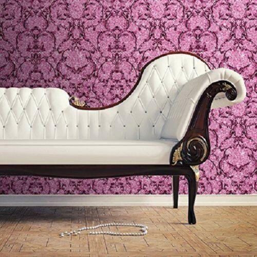 Hot Pink 701347 Luxury Baroque Scroll Sparkle Textured Vinyl Wallpaper Muriva