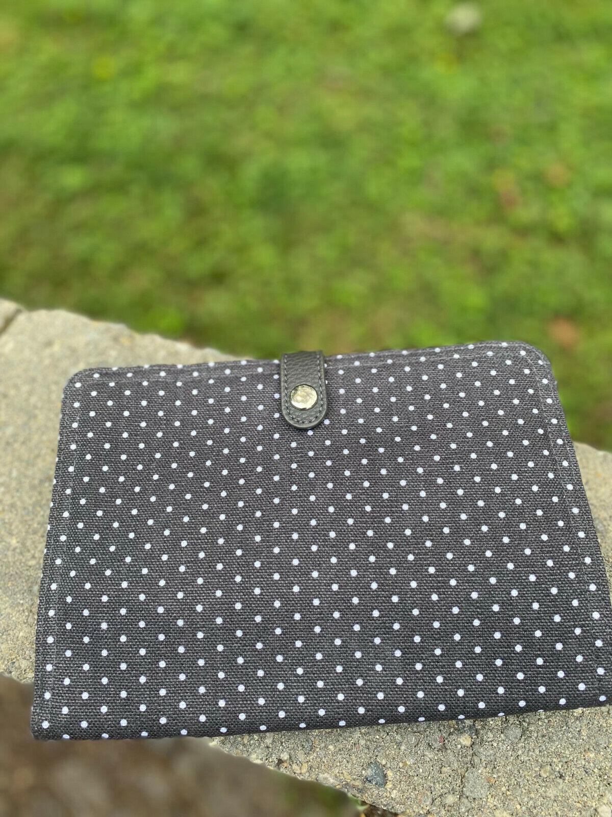 Thirty-One Double Up Crossbody Charcoal White Swiss Dot Crossbody Bag