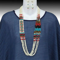 Thanksgiving Turquoise Long Fall Seed Bead Glass Miyuki Indian Beaded Necklace
