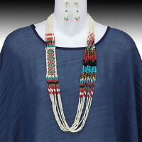 Boutique Cream Turquoise Long Fall Seed Bead Glass Miyuki Indian Beaded Necklace