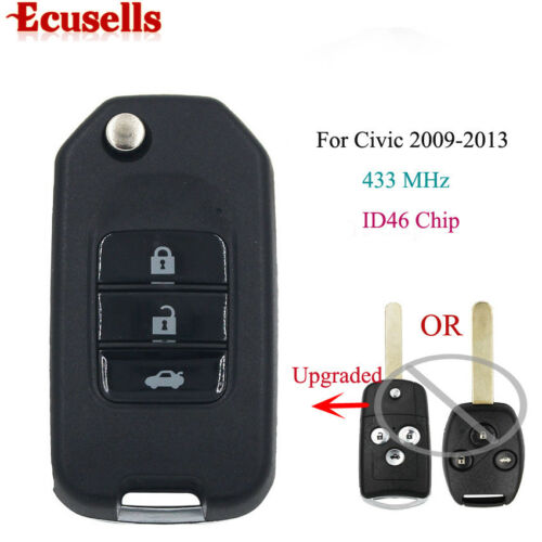 Upgraded Flip Remote Key 3 Button 433MHZ ID46 Chip for HONDA CRV from 2009-2013