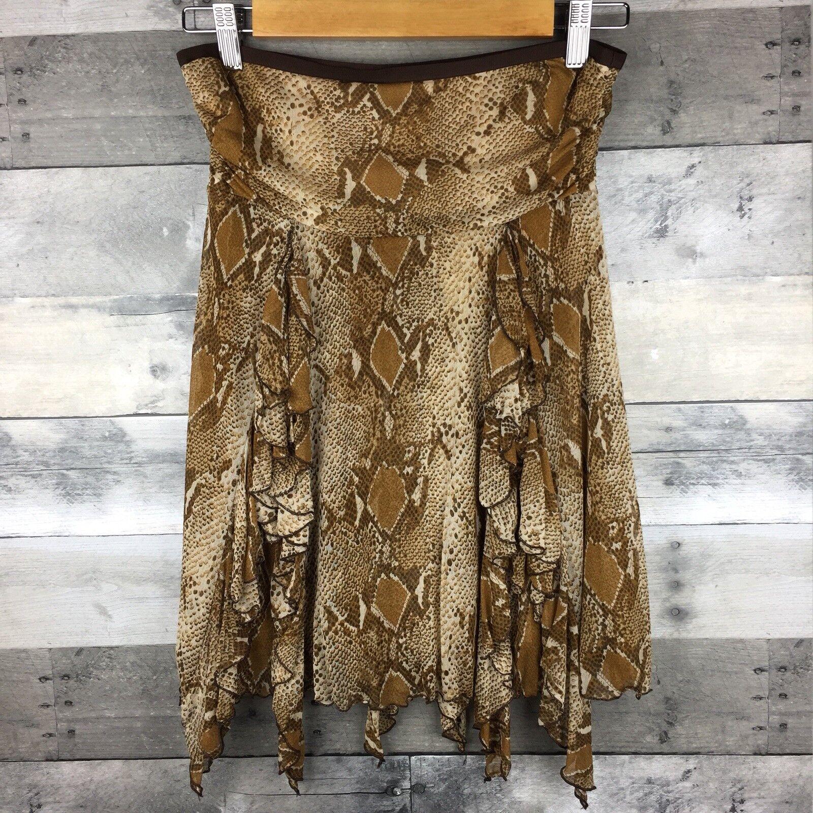Diane Von Furstenberg Womens Size S Snake Print Silk Skirt Sheer Frilly Accents