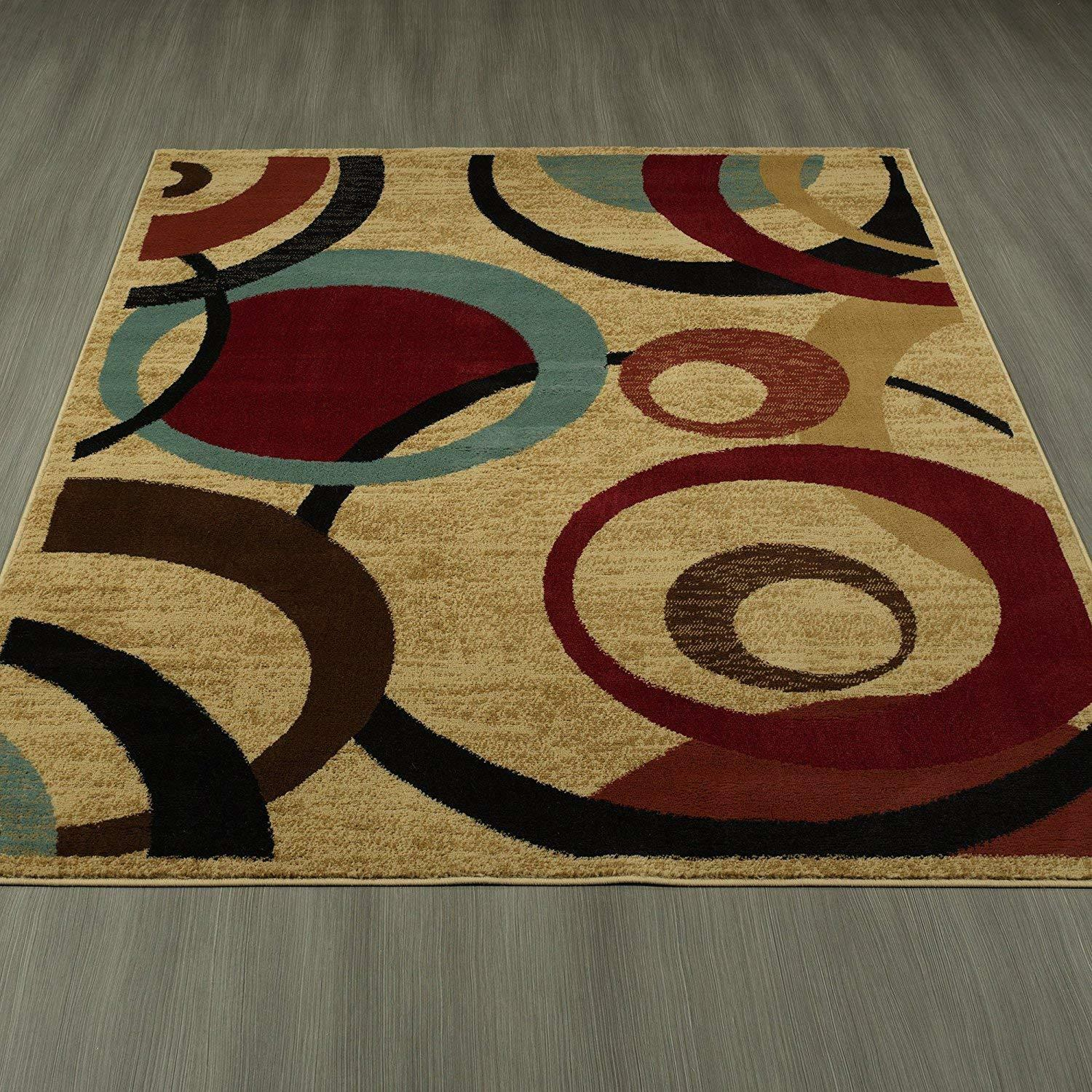 Modern Geometric Area Rug Circles 5 X 7 Beige Burgundy Red Brown Teal Turkey For Sale Online