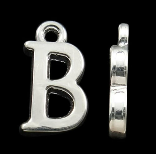 BULK 40 Letter B Alphabet Charms Silver Plated SC2337