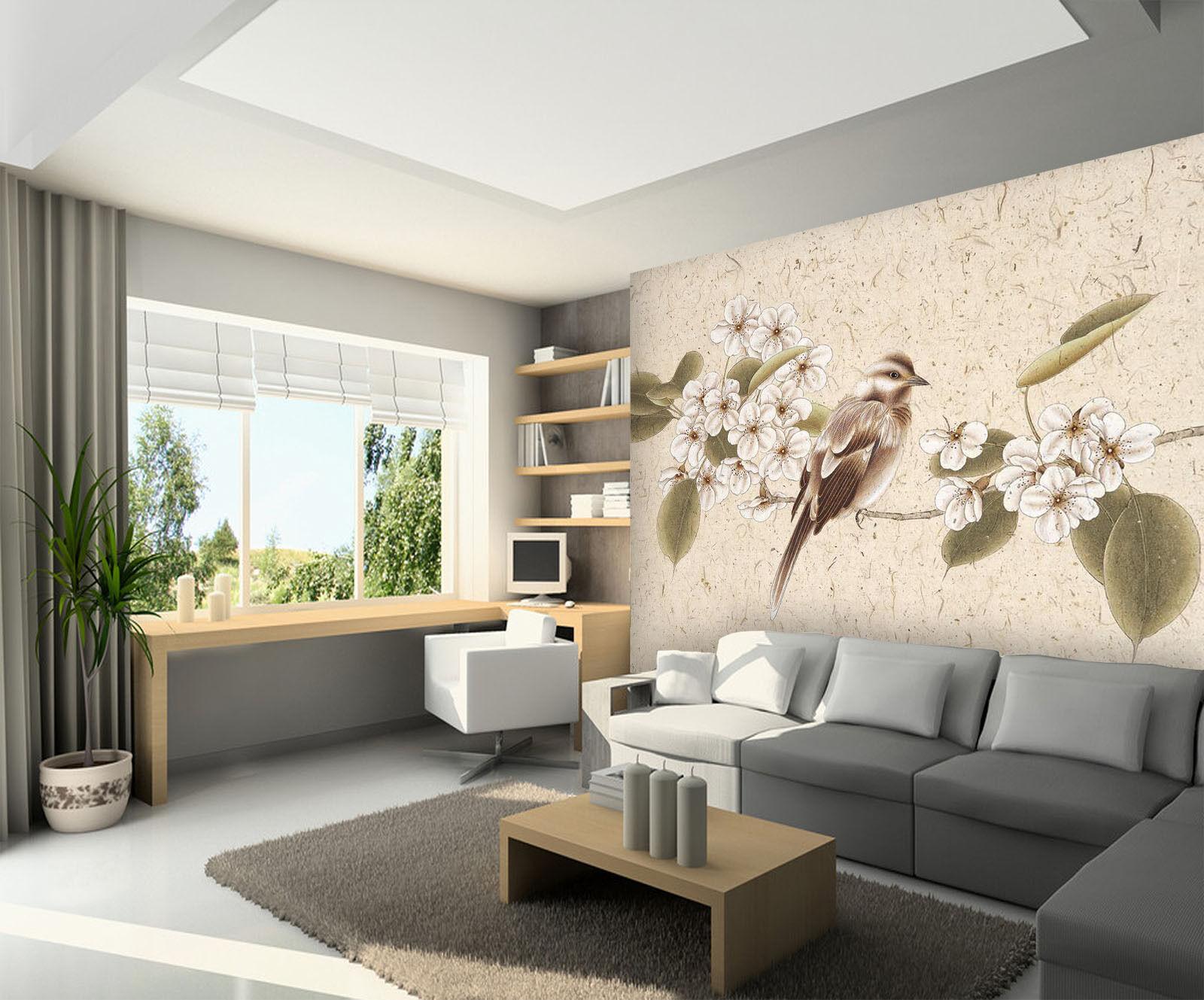 3D Weiß Flower Bird Painting 8 Wall Paper Wall Print Decal Wall AJ WALLPAPER CA