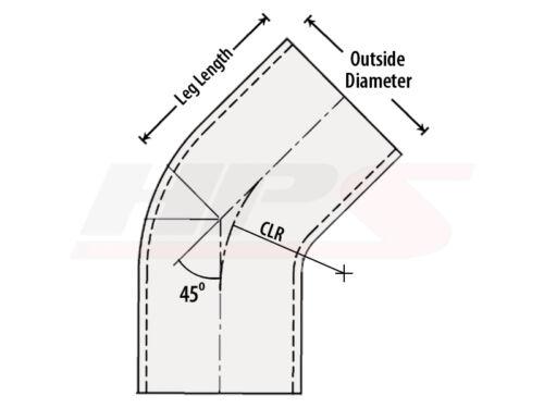 "HPS 2.25/"" OD 45 Degree Bend 6061 Aluminum Elbow Pipe 16 Gauge w// 3/"" CLR"