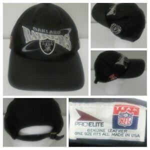 0347cd1d Details about Vintage 90s Oakland Raiders Original ProEite NFL Adjustable  Leather Snapback Hat