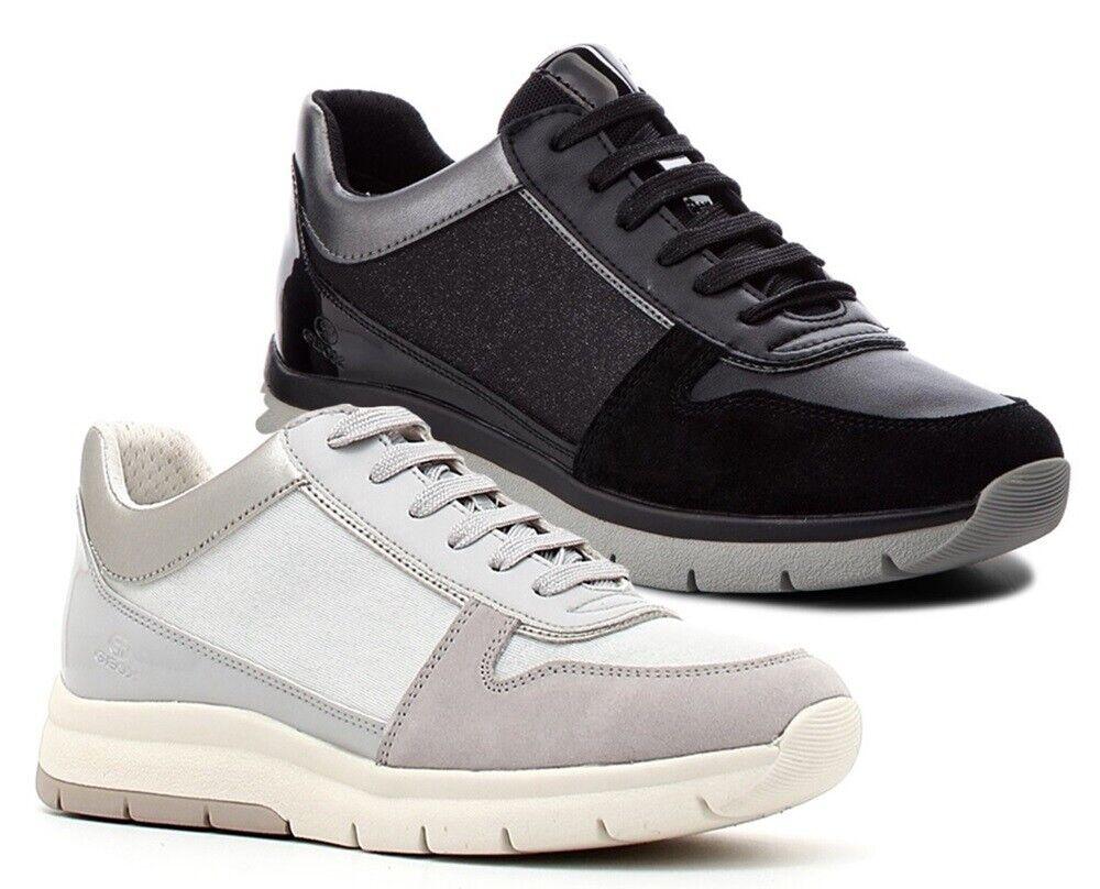GEOX SP CALLYN D849GD scarpe donna scarpe da ginnastica pelle camoscio zeppa tessuto glit