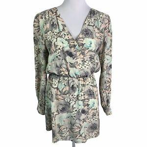 Parker Lila Silk Floral Long Sleeve Elastic Waist Cutout Back Mini Dress Women M