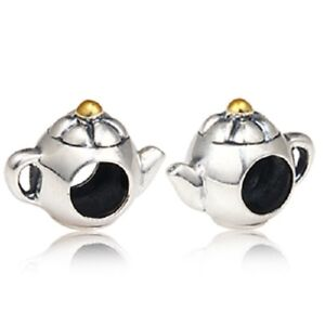 TEAPOT-GOLD-PLATED-Genuine-925-Sterling-Silver-Charm-Bead-Fits-European-Bracelet