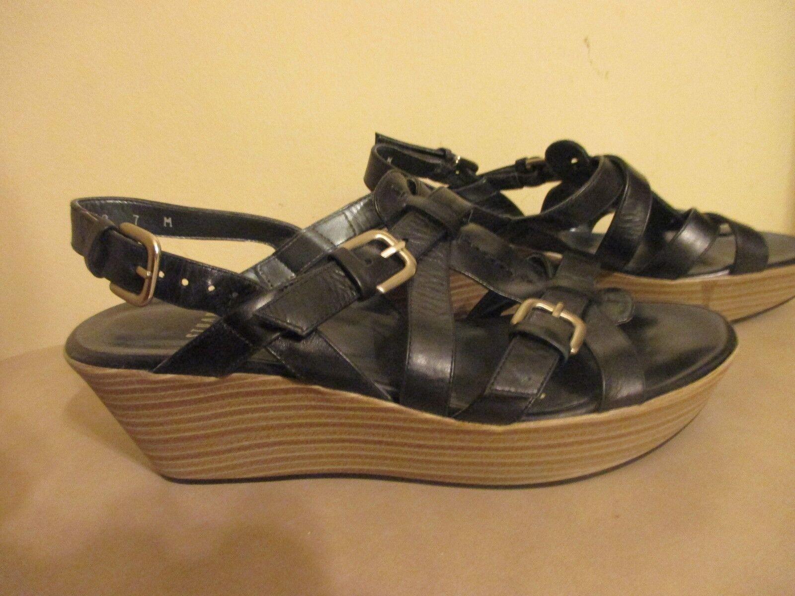 Stuart Weitzman Strappy Wedge Sandale Slingback schwarz Leder Größe 7 M 2