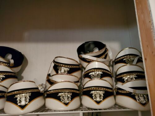MARCHING BAND HAT WHITE BLACK AND GOLD