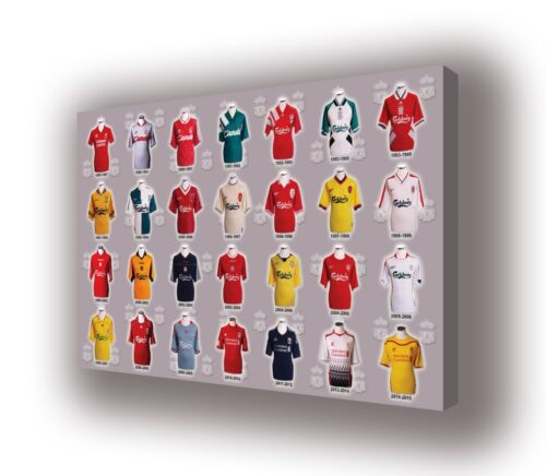 Liverpool Classic Football Shirts Wall Canvas Picture Print Wall Art 63cm x 40cm