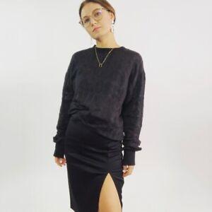 Love-Moschino-Black-Burnout-Logo-Sweater-Women-039-s-Size-8-Medium