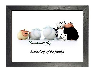 Black Sheep Of The Family Poster Cartoon Kids Love Time Black and White Funny
