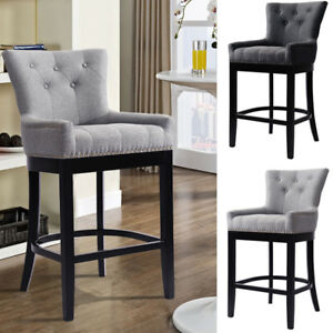Strange Details About Modern High Back Button Tufted Bar Stool Chair Breakfast Dining Leisure Barstool Beatyapartments Chair Design Images Beatyapartmentscom