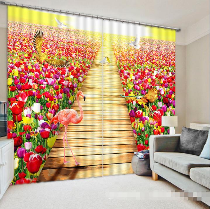 3D Flowers Birds Blockout Photo Curtain Printing Curtain Drapes Fabric Window CA