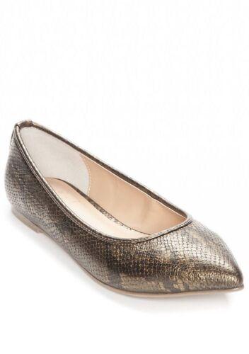 KAARI Blue women/'s pointy toe flats Bronze Faux Snake Ballet Hillary Wide NIB