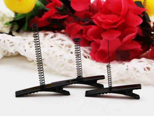 50 Black Metal Pinch Alligator Hair Clips 40mm with Wire Coil Spring Craft DIY