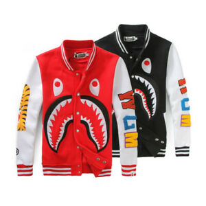 Bape-A-Bathing-Ape-Shark-Head-Men-039-s-Coats-Tops-Baseball-Jacket-Sports-Outwear