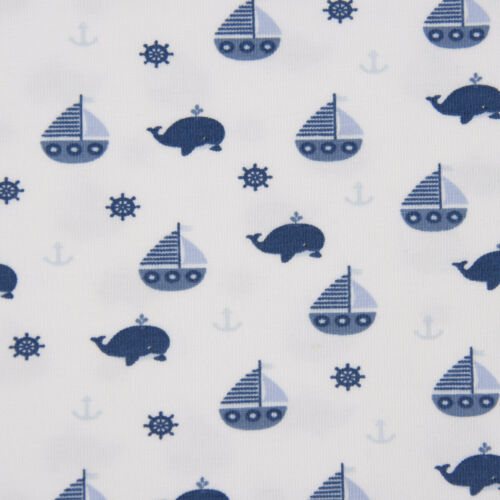 Baumwolljersey Jersey Stoff Wal Segelboot Anker weiß blau 1,50m Breite