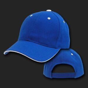 Royal Blue   White Sandwich Visor Bill Blank Plain Baseball Cap Hat ... 97f4202f3b9