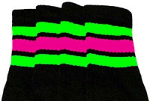 "22-162 22"" KNEE HIGH BLACK tube socks w// Neon Green//Hot Pink stripes style 1"