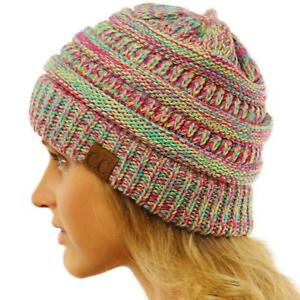c8813d23e142a4 CC Quad Color Warm Chunky Thick Stretchy Knit Slouchy Beanie Skull ...