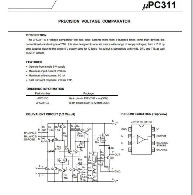 1PCS//5PCS UPC311C C311C PRECISION VOLTAGE COMPARATORS DIP8