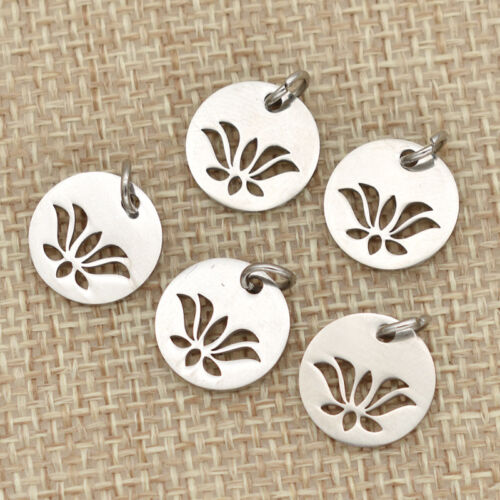 5pcs Silver Lotus Flower Round Stainless Steel Charms Pendant For Jewelry Making