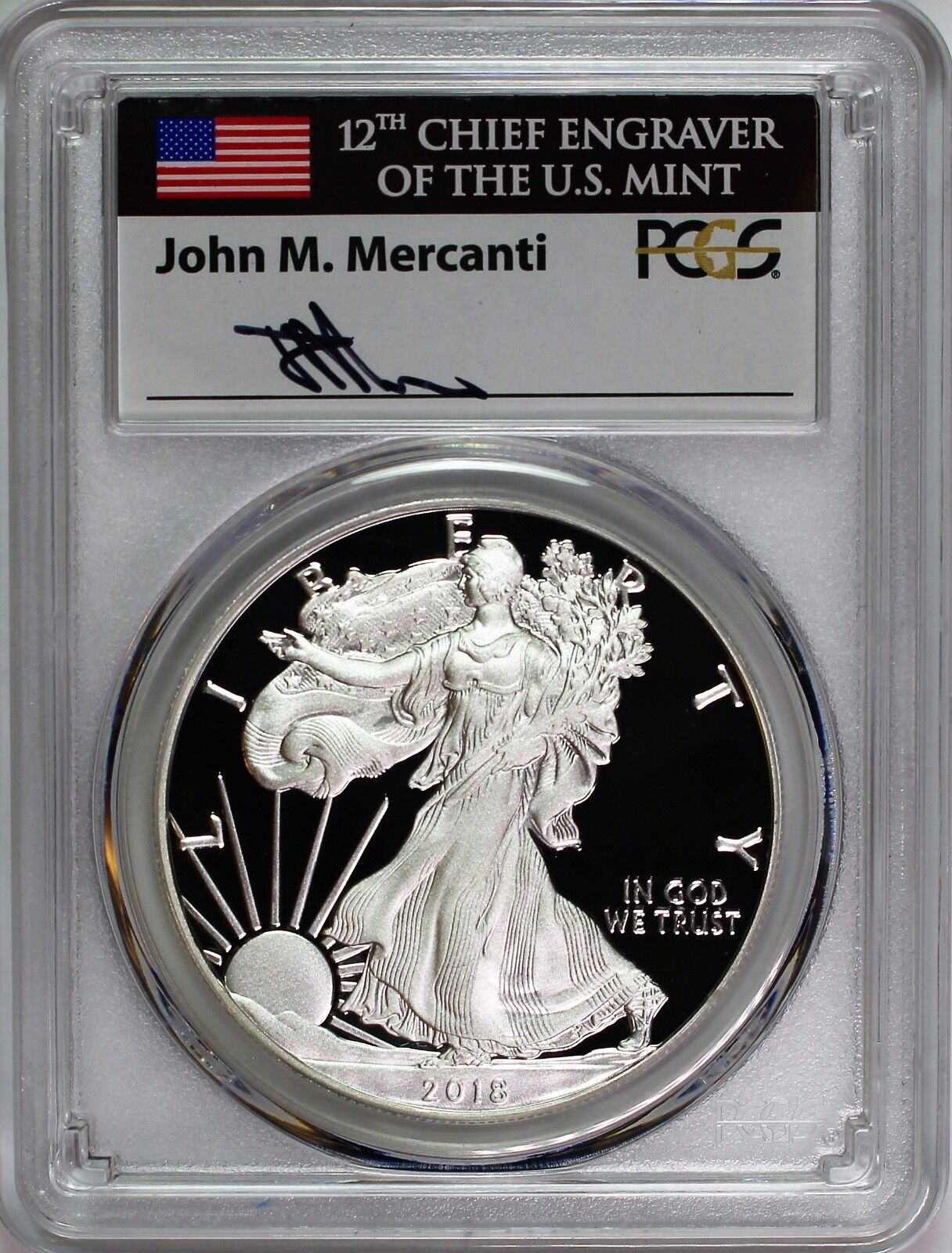 2018-S PROOF SILVER EAGLE-PCGS PR70-FDOI-MERCANTI-FLAG-POPULATION ONLY 700!!!