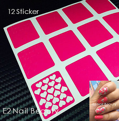 12 x Heart Nail Art Stencils Vinyl Decal Sticker FREE SHIPPING