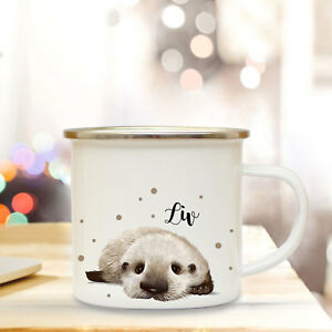 Der GüNstigste Preis Emaillebecher Tasse Otter Baby & Name Wunschname Campingtasse Becher Eb259 Kindergeschirr & -besteck Geschenk- & Werbeartikel