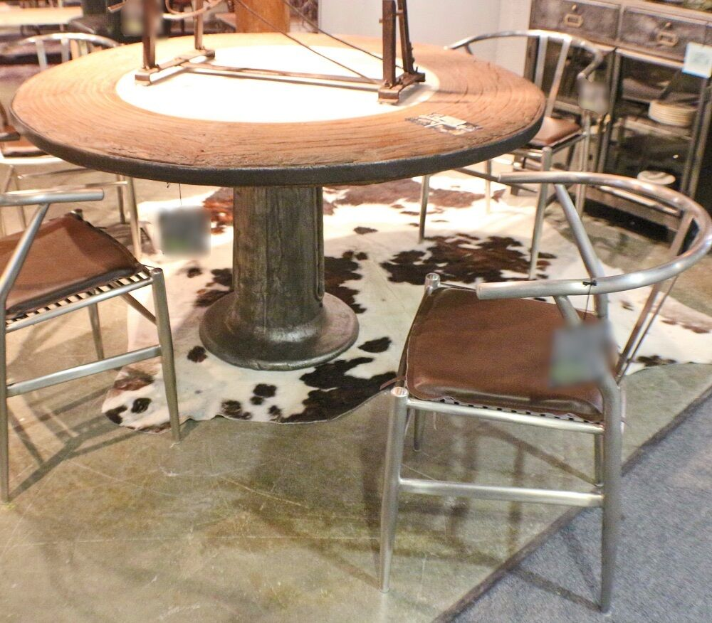 "Industrial Round Dining Table: 55"" Round Dining Table Marble Stone Center Iron Pedestal"