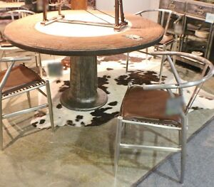 55 Round Dining Table Marble Stone Center Iron Pedestal