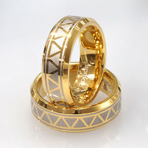 New-8mm-Men-039-s-Solid-Tungsten-Wedding-Band-Ring-14K-Gold-Overlay