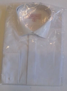 NEW-Mens-white-formal-shirt-weddings-evening-with-15-034-tall-standard-collar