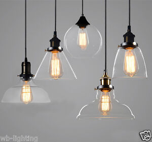 Image Is Loading Modern Clear Glass Ceiling Lamp Shade Cafe Pendant