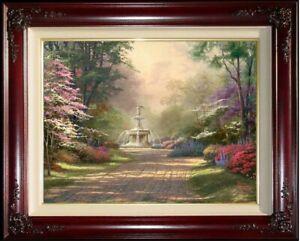 Thomas-Kinkade-Fountain-of-Blessings-G-P-18x24-Canvas-Brandy-Frame